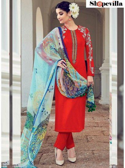 Red Cotton Satin Designer Suit-6509