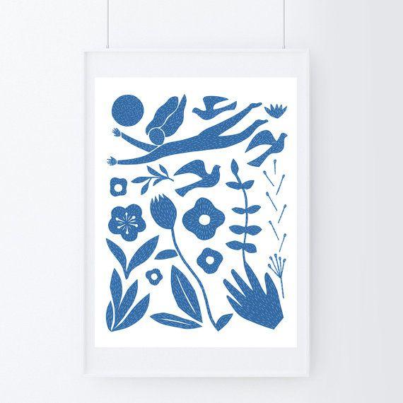 Folk art print, blue art print, mixed media art, large poster, scandinavian art…