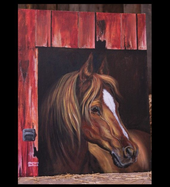Horse in Barn Door Painting  20 x24 Acrylic on by leboxboutique, $175.00