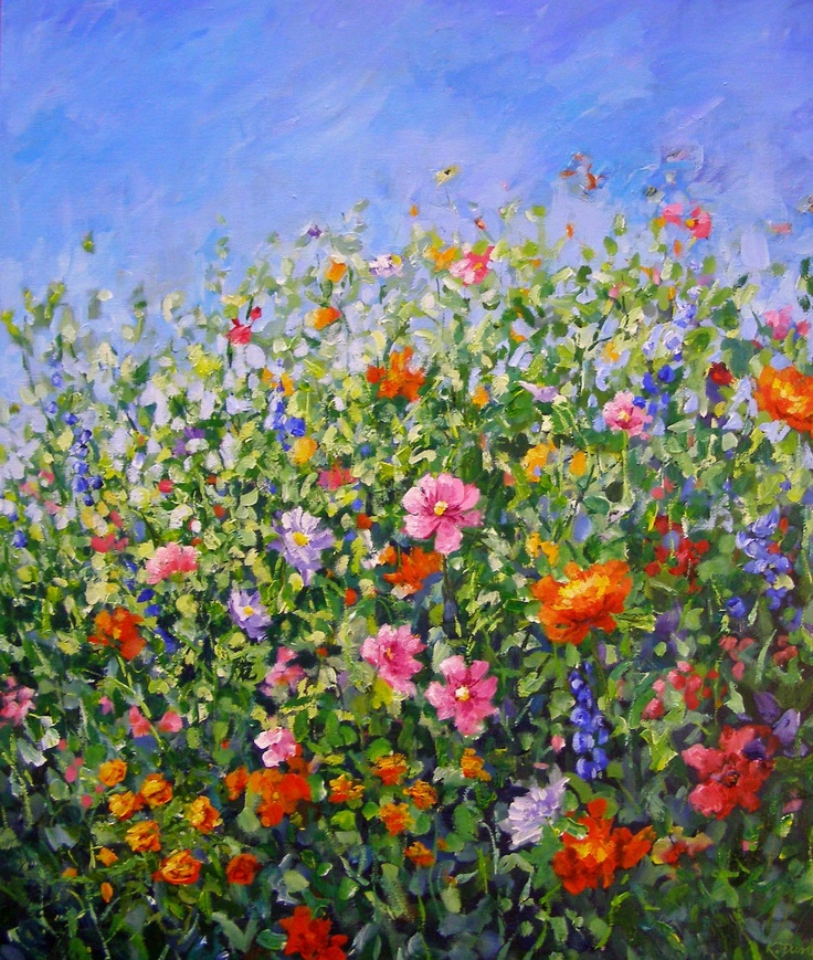 """Cottage Garden"" Acrylic Painting by kathdunneartworks.com"