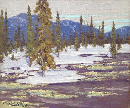 Frank Johnston - Cariboo Moss Bonanza Bay Great Bear Lake NWT 10 x 12 Oil on panel (May 1939)