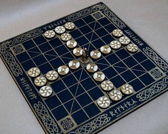 Tafl (Hnefatafl) Vikings Board Game, Kings Table, Scandinavian Game, Vikings Chess Black
