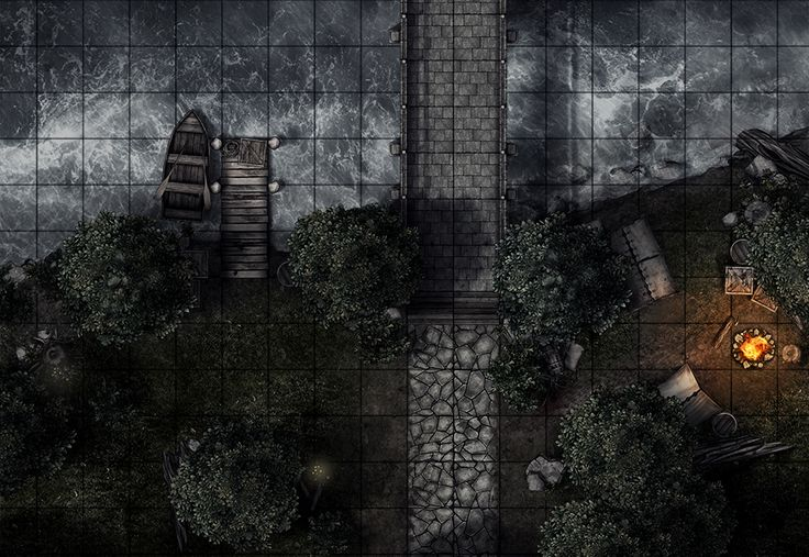 Bridge encounter (night), a printable battle map for Dungeons and Dragons / D&D, Pathfinder and other tabletop RPGs. Tags: bandit, camp, encounter, bridge, tent, bridge, forest, tree, river, tile set, boat, wilderness, night, print