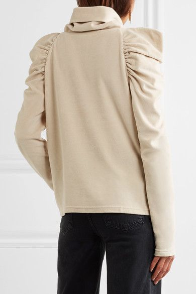 M.i.h Jeans - Bay Garnett Spider Ruched Cotton-blend Velour Turtleneck Top - Cream