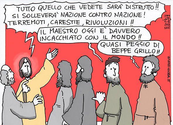 Vignetta su Gesù e Beppe Grillo! Cosa ci aspetta nel futuro? Qualche catastrofe? Intanto divertiamoci un po'