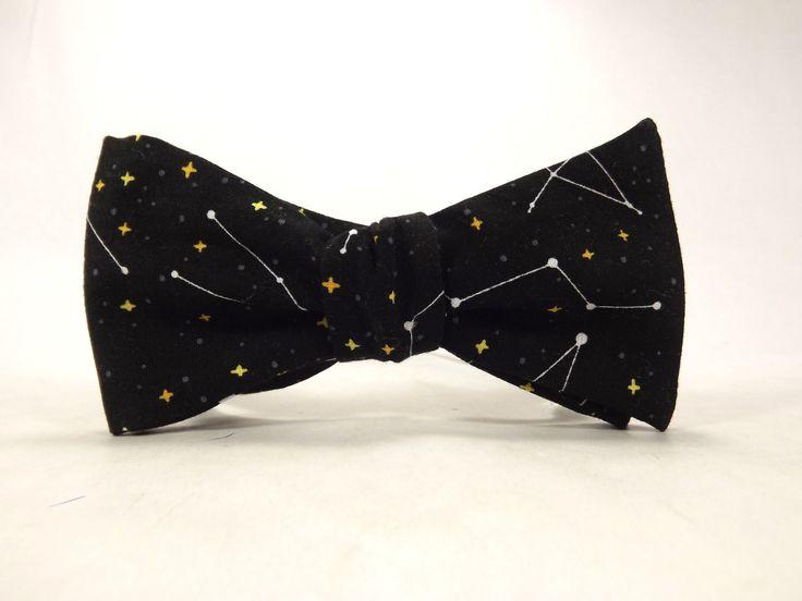 Constellation bowtie, Black Yellow stars, Space tie, Star bowtie, Astronomy bowtie, Zodiac bowtie