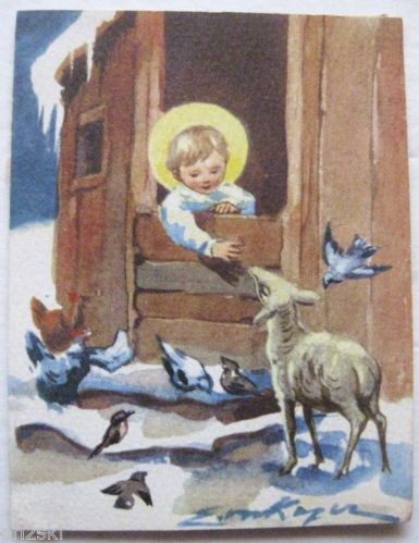 VTG 50s Brownie Christmas Greeting Card Angel Lamb Erica Erika Von Kager