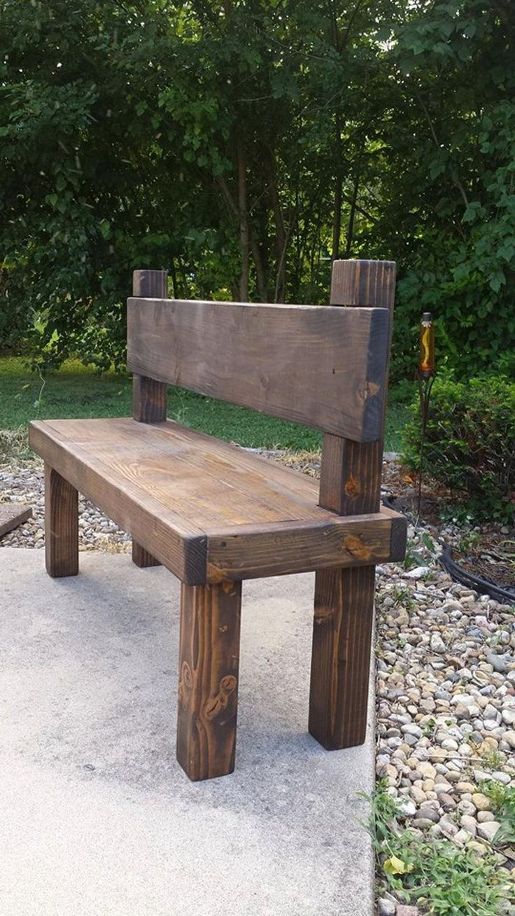 Beautiful Reclaimed Unique Primtiques Dark Walnut Stained 19-1/2″ x 54″ x 36″h Bench W/ Plank Back