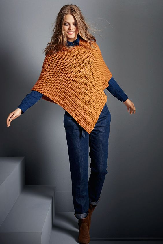 DIY-Anleitung: einfachen Poncho in herbstlichem Orange stricken, elegante Mode / DIY tutorial: knitting easy poncho in orange, elegant fall fashion via DaWanda.com