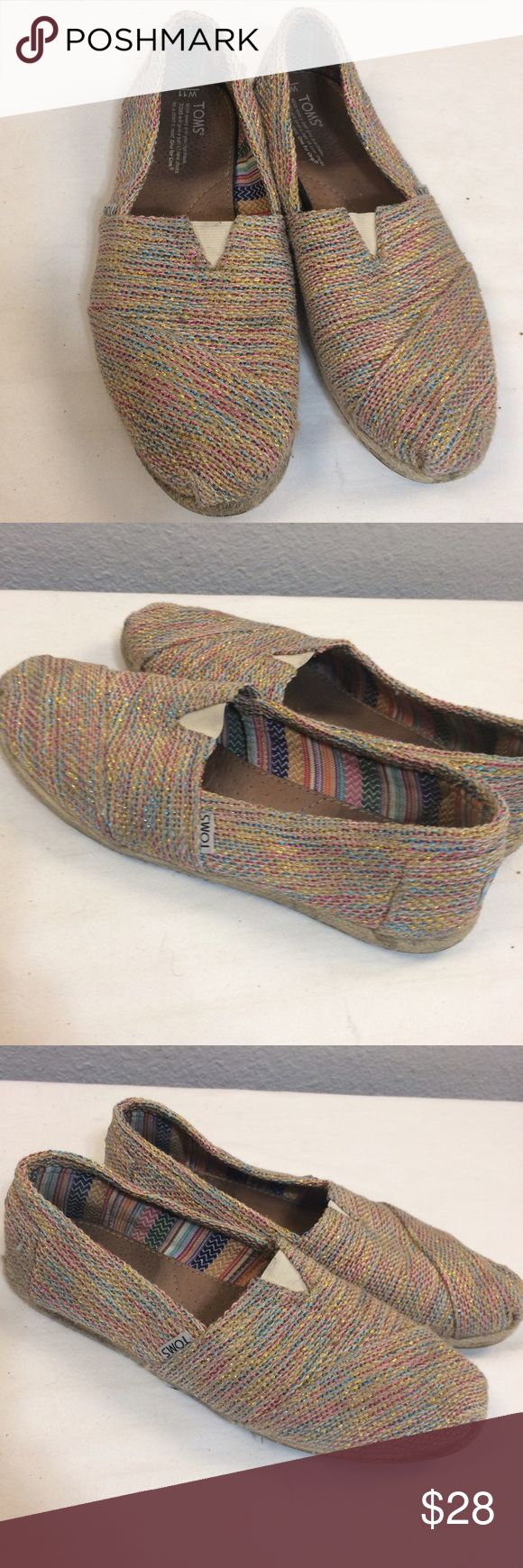 TOMS burlap and jute espadrilles-multicolor TOMS espadrilles with a jute detail around the soles. The material is burlap with multi colored threads woven through. Soles show some wear and so does the inside heel/ inner sole. Zoom pics to see details. Well loved and worn but great casual slip ons! TOMS Shoes Flats & Loafers