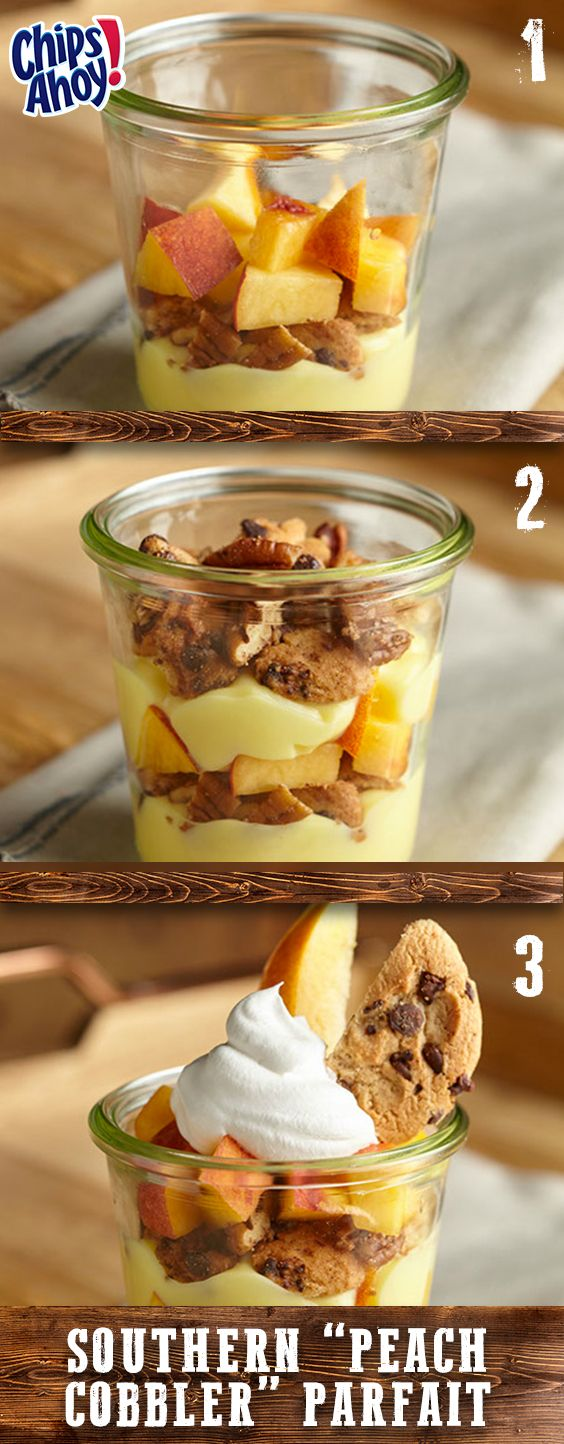 """We're remixing the classic peach cobbler with this easy summer recipe. Great for a crowd, our scrumptious Southern """"Peach Cobbler"""" Parfaits unite the chocolate chip goodness of CHIPS AHOY! Cookies with juicy peaches, nutty pecans, aromatic cinnamon, and sweet vanilla pudding. Preps in just 20 minutes."""