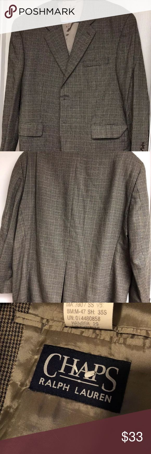 Men's Chaps Ralph Lauren Blazer Silk/Wool 44s Men's Chaps beige Ralph Lauren blazer. Size 44s excellent Condition Suits & Blazers Sport Coats & Blazers