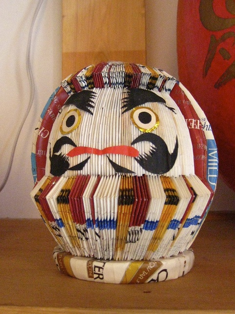 Daruma made from TABACO package!  Shirakawa,Fukushima