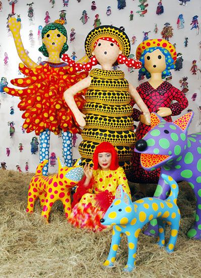 Yayoi Kusama and her polka dot creations. Love that dog!