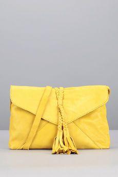 Pieces - - Pochette jaune pompon cuir Axelle