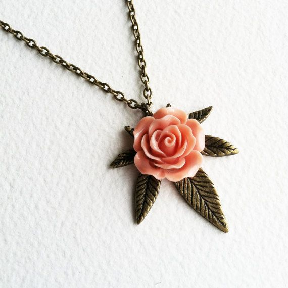 Marijuana Necklace with rose, marijuana jewelry, pink girly 420 weed cannabis hemp Brass Rose necklace jewelry, cannabis, vintage PLEASE SEE