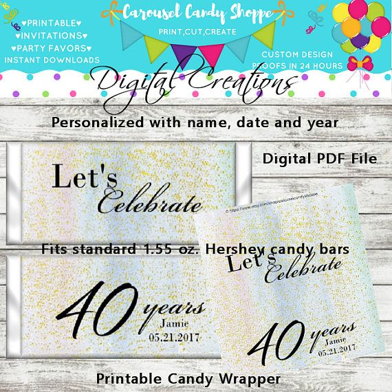 Milestone Birthday Printable Candy Bar Wrappers DIY Printable