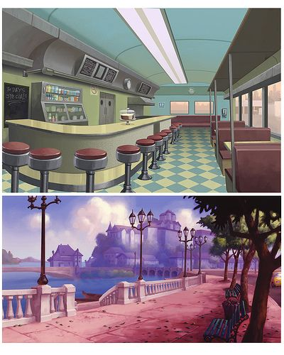 diner animation background