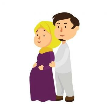 Young Pregnant Mother Muslim Couple Character Character Clipart Logo Isolated Png And Vector With Transparent Background For Free Download Kartun Gambar Hamil Produk Bayi