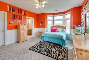 Traditional Kids Bedroom with flush light, Carpet, Wainscoting, High ceiling, Ceiling fan