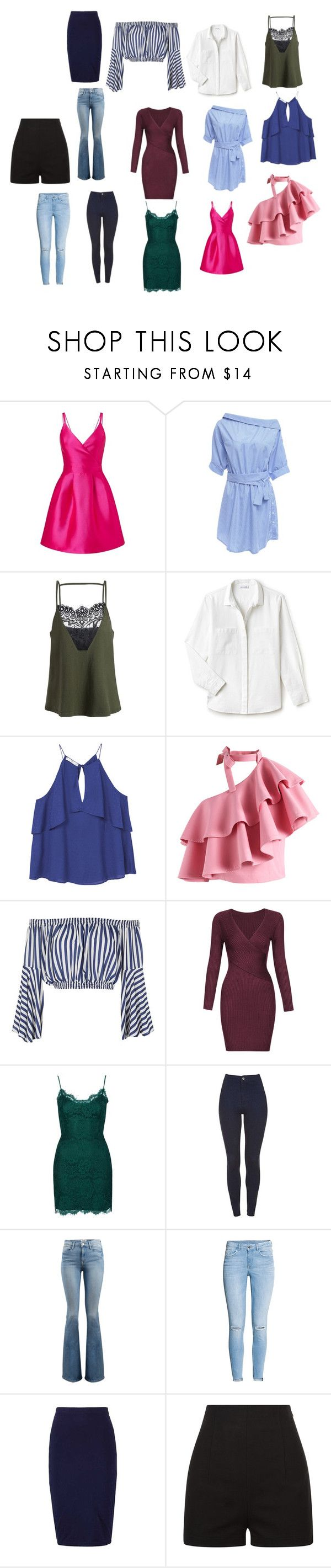 """""""hourglass clothes"""" by valeriagban on Polyvore featuring Miss Selfridge, Lacoste, MANGO, Chicwish, Love, Topshop, Frame and H&M"""