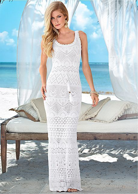 White Multi Crochet Maxi Dress from VENUS