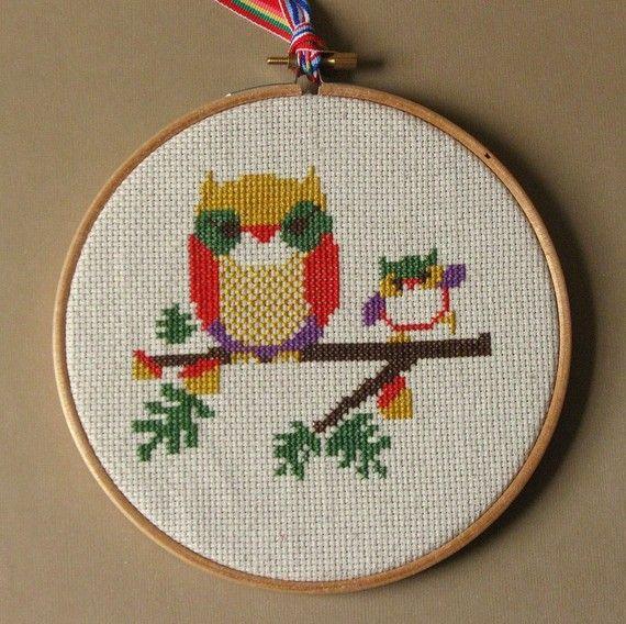 Owl and Owlet Cross Stitch Kit