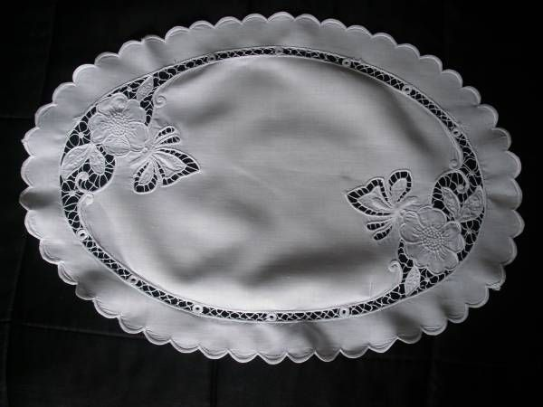 """Butterfly Oval Tray Cloth - A stunning white linen hand embroidered tray cloth or oval table topper,Fabulous Richelieu embroidery of butterflies and flowers,Also scalloped around the edge,Pure white Irish linen,In perfect condition.Measuring 16"""" by 22"""""""