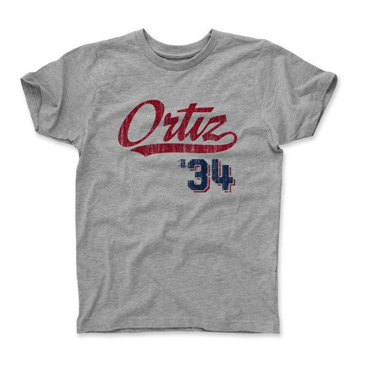 David Ortiz Script R Boston MLBPA Officially Licensed Toddler and Youth T-Shirts 2-14 years
