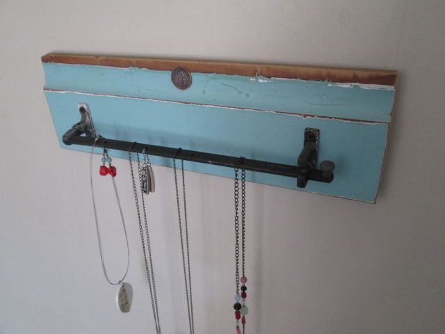 """""""juliesgirlshed necklace holder, created with a vintage window latch"""