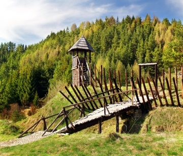 Reconstructed ancient wooden fortification in the outdoor archeological museum of Celtic culture located on Havranok hill near Liptovska Mara lake, Slovakia.
