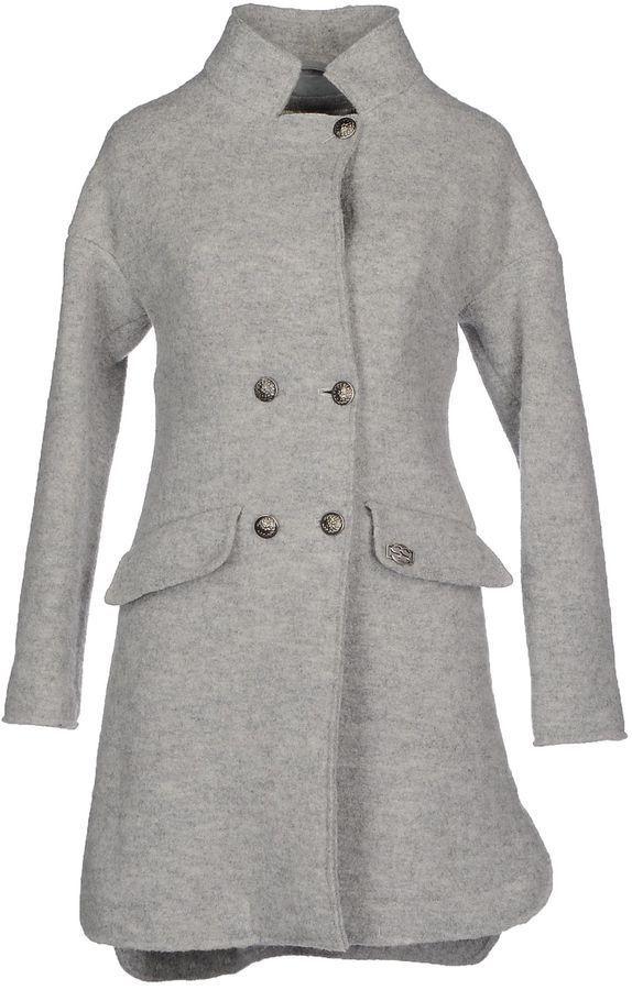 $505, Grey Coat: Ermanno Scervino Scervino Street Coats. Sold by yoox.com. Click for more info: https://lookastic.com/women/shop_items/290828/redirect