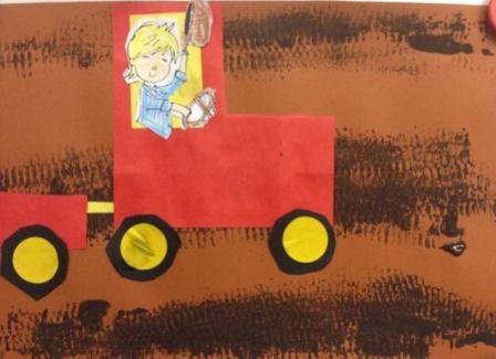 Boer boris op zijn nieuwe tractor. Rij met een speelgoed tractor Door bruine verf en rij daarna over het papier. Plak de gevouwen tractor en aanhanger op het papier.
