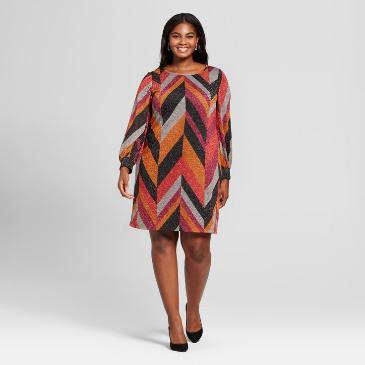 Women's Plus Size Chevron Print Dress - Chiasso - Brown 2X, Orange