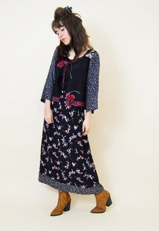 Vintage 90s mixed floral print double layered midi dress