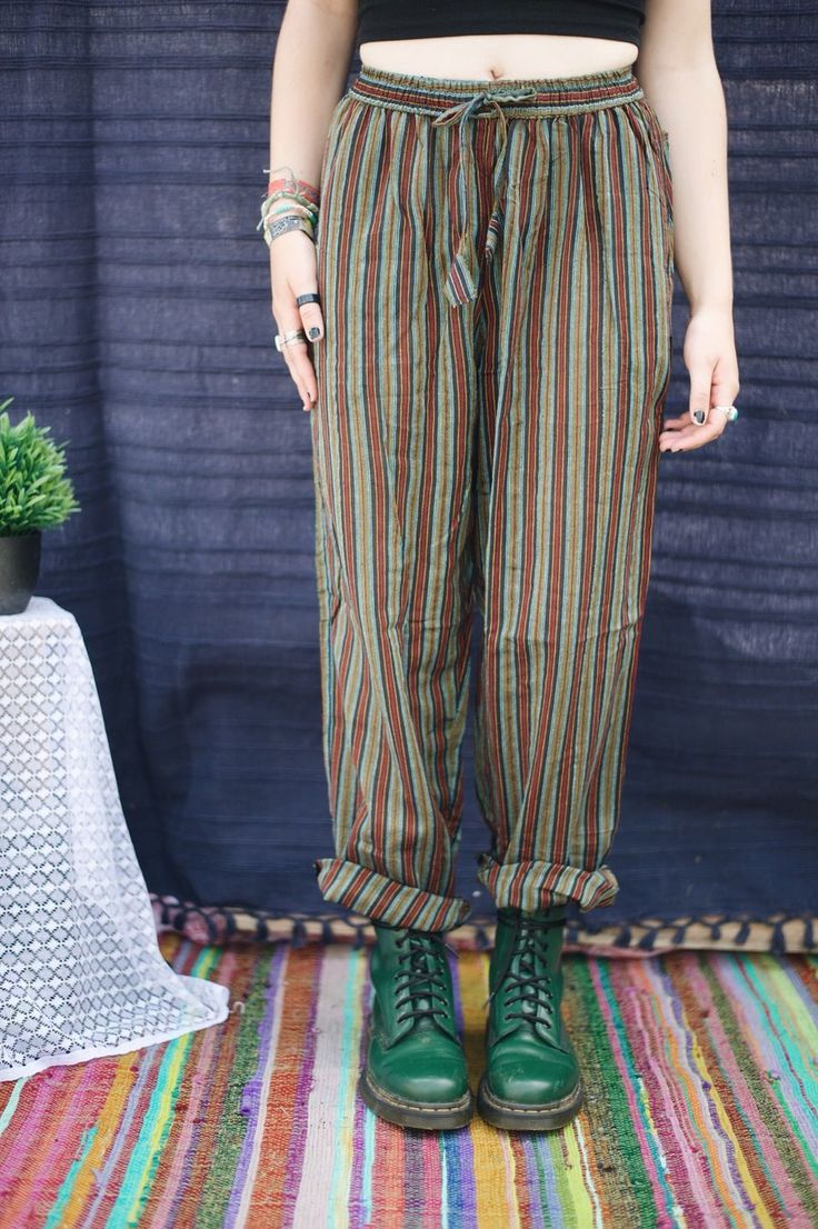 Image of Green Stripe Hippie Trousers