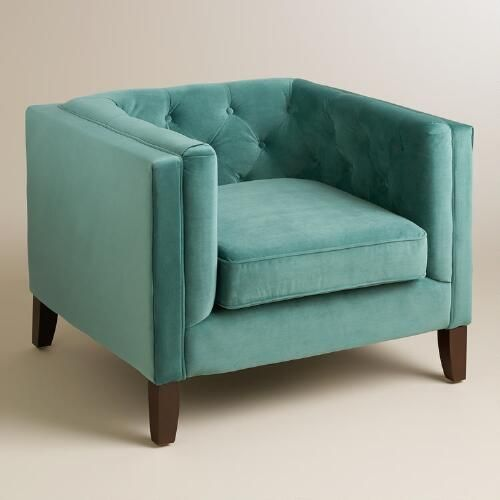 Teal velvet kendall chair shelters feature and hue for Teal reading chair
