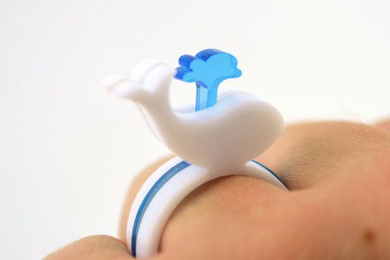 So cuuuuuuuuuuuuuute!  White Whale Laser Cut Acrylic Ring Set by LicketyCut on Etsy, $12.00