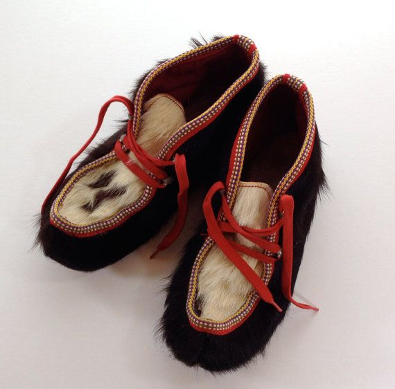 Vintage 1960s Sami Laplander reindeer boots, traditional ...