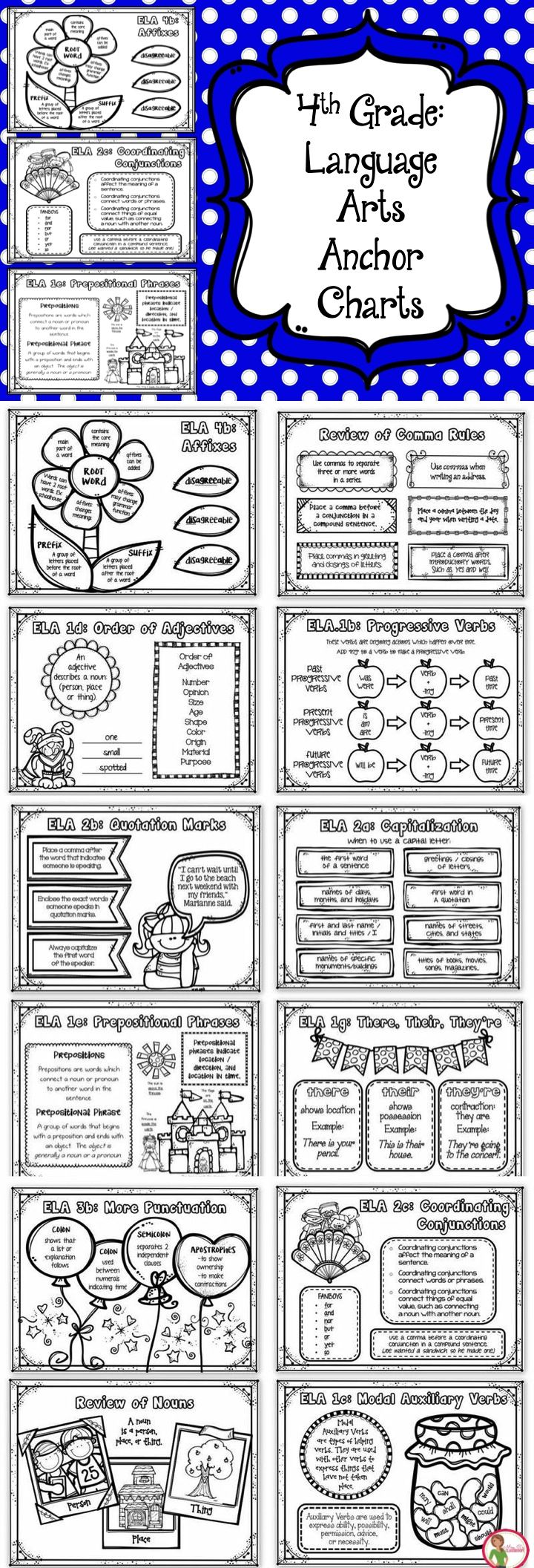 There are 22 black and white anchor charts included. These anchor charts are black and white because I created them to be used by students. My goal was to make a reference resource for students to take home with them when a new standard has been introduced,  when a standard already taught needs to be practiced or reviewed, when a student is absent, or to give parents a resource for helping their children at home.