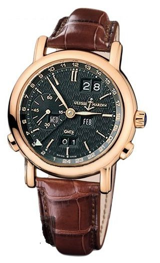 Ulysse Nardin GMT Perpetual Black Dial 18kt Rose Gold Brown Leather Mens Watch 326-22-92