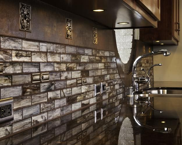 silver tile for kitchen with sparkly inserts | Top Modern Ideas for Kitchen Decorating with Stylish Wall Tile Designs