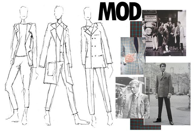 Amy Vanderwall; layout, design, illustration, sketch, planning, fabric, colour, theme, inspiration. Fashion Sketches MOD Men's Tailoring Illustrations for Design Development. BTEC Fashion