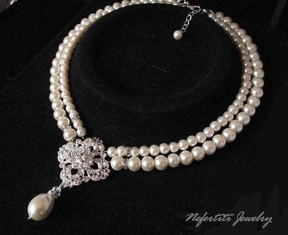 bridal necklace vintage style pearl by nefertitijewelry2009