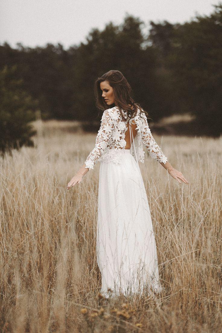 Boho zweiteiliges Hochzeitskleid 19D Spitze Vintage Brautkleid Lace
