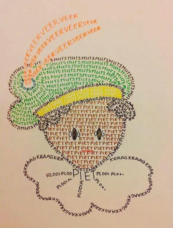 Creatief schrijven. Zwarte pietenmuts. woorden schrijven in tekening