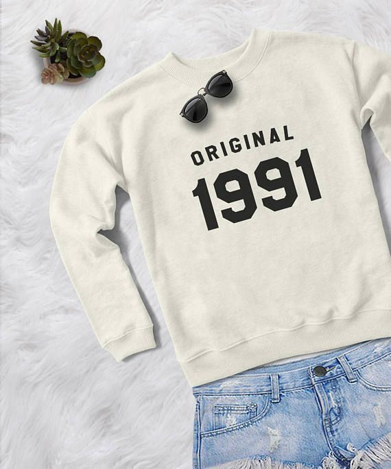 27th birthday for her gift sweatshirt women pullover sweatshirts crewneck sweater graphic sweater birthday gift for her original 1991 shirt #90s #90sfashion #winterstyle