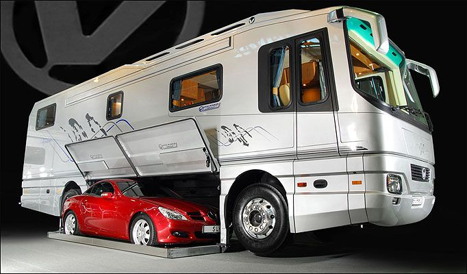 the german volkner mobil performance rv with built in sports car