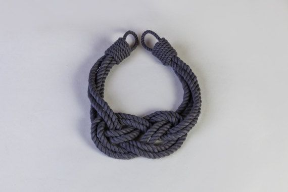 Double Carrick Bend knot Curtain tie-backs  Charcoal Gray Cotton rope. Cotton rope doesnt stretch or shrink.  Suitable for indoor and outdoor use.  Tiebacks do not come with hard ware.  Other colour variations are also available : Ivory white and Beige.