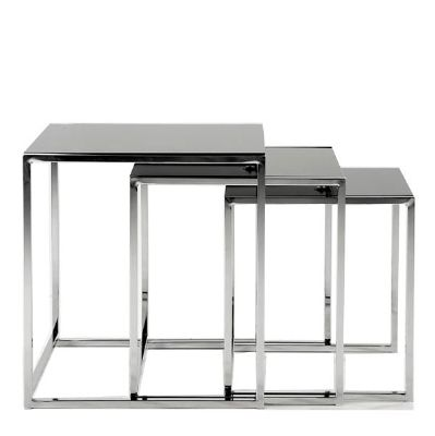 50cm x 50cm £159 The Cross Nest of Tables - Designer Occasional Tables UK - Glass Table